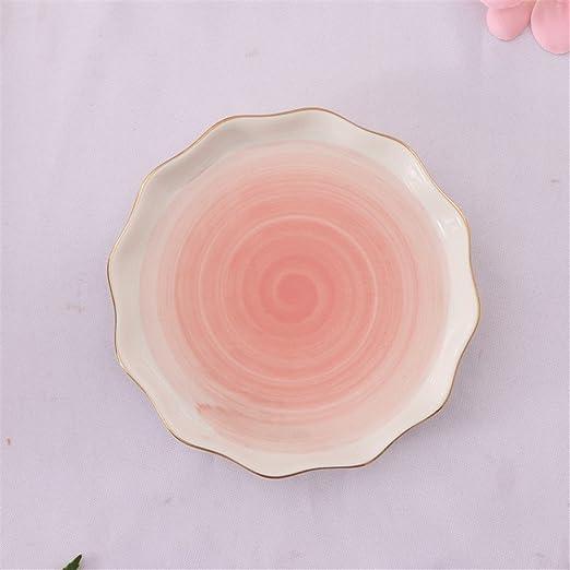 TYLIU Vajilla de cerámica con Borde de Oro Placa Rosa hogar Plato ...