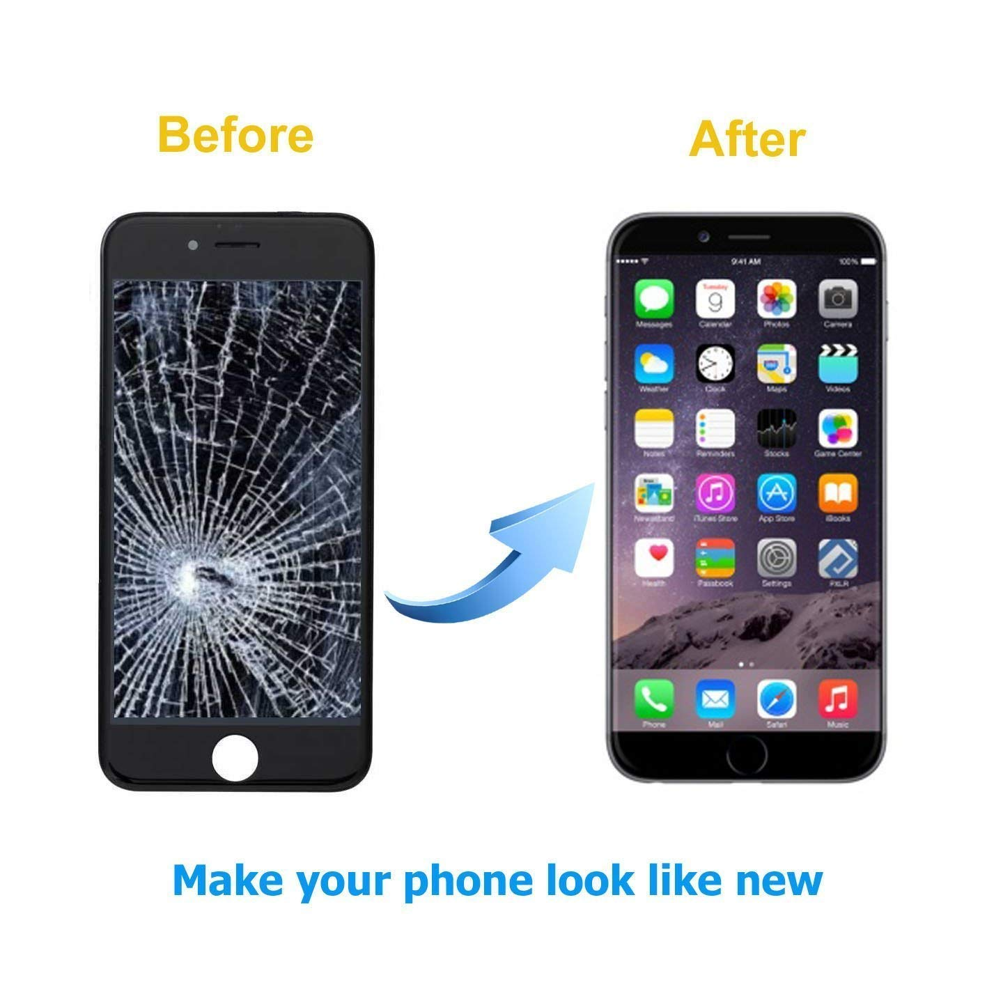 Amazon.com: Screen Replacement for iPhone 7 LCD Display and Touch Screen  Digitizer Replacement Full Assembly with Repair Tool Kit(Black, 4.7Inch, ...