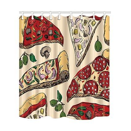 Amazon NYMB Food Decor Pizza Shower Curtain Mildew Resistant