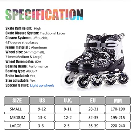S, Black SULIVES Kuxuan Inline Skates Adjustable For Kids,Girls Skates With All Wheels Light Up,Fun Illuminating For Girls And Ladies