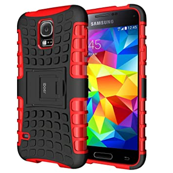 Funda Galaxy S5, Galaxy s5 Case Carcasa Cases caso armor doble capa híbrida con soporte Cáscara de Cubierta de Silicona Protectora para Samsung Galaxy ...
