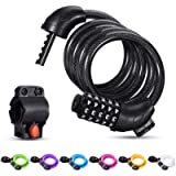 Bike Lock Cable,Famistar 4 Feet High Security 5 Digit Resettable Combination Coiling Bike Chain Lock with Mounting…