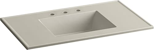 KOHLER K-2781-8-G85 Ceramic Impressions 37 in. Rectangular Vanity-Top Bathroom Sink with 8 in. Widespread Faucet Holes, Sandbar Impressions