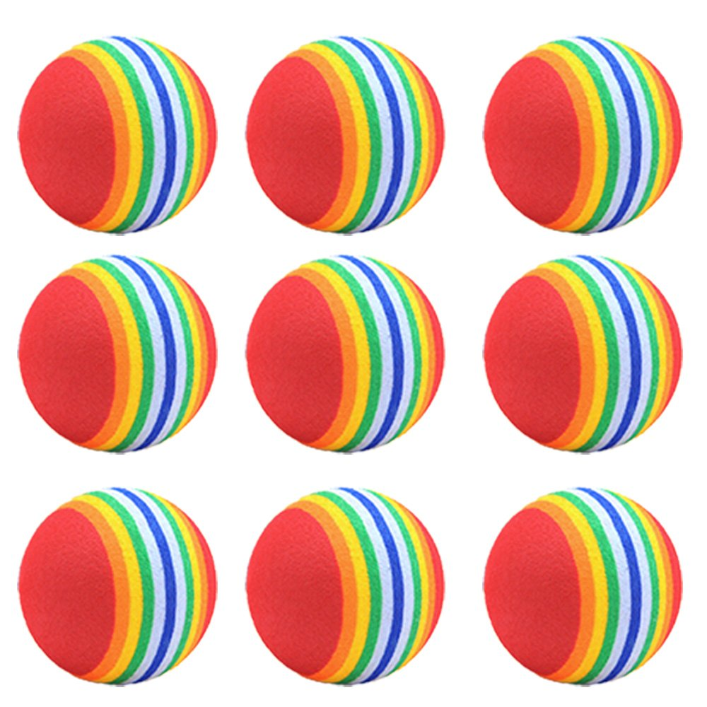 10 PCS EVA Solid Pet Toy Ball Rainbow Antenna Balls for Cats Dogs Puppy Kitten Chasing Training Playing Pets Supplies Beetest
