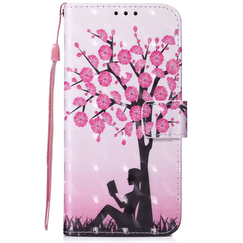 Qjuegad Coque pour Samsung Galaxy S10, Premium PU Cuir Etui avec Rabat, 3D Coloré Motif Porte Cartes Rabat Magnétique Stand Antichoc Housse de Protection - Flamant Rose