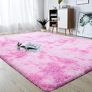junovo Modern Abstract Shaggy Area Rugs Fluffy Soft Bedroom Rug for Kids Nursery Girls Boys Ultra Comfy Shag Fur Carpets Nursery Room Living Room Furry Decor Rugs, 5 ft x 8 ft, Pink