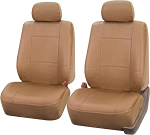FH Group PU001102 PU Leather Seat Covers (Beige) Front Set – Universal Fit for Cars Trucks & SUVs