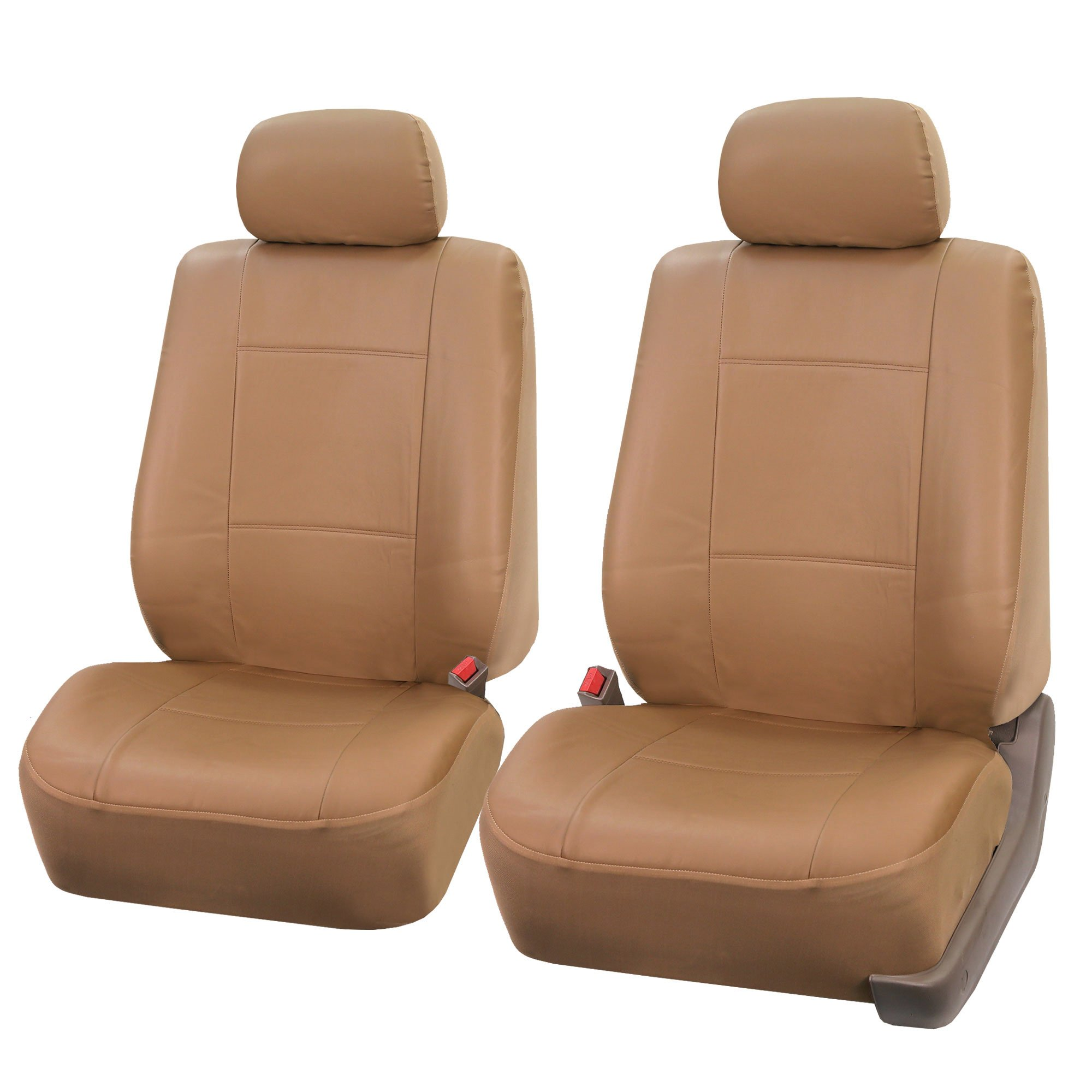 FH Group FH-PU001102 Classic Synthetic Leather Pair Set Car Seat Covers, Beige Color - Fit Most Car, Truck, SUV, or Van by FH Group