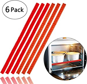 Oven Rack Shields - 6 Pack Heat Resistant Silicone Oven Rack Cover 14 inches Long Oven Rack Edge Protector, Protect Against Burns and Scars