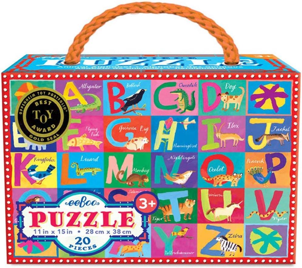 eeBoo Animal Alphabet Puzzle for Kids, 20 Pieces
