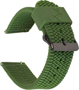Carterjett Sport Watch Band Olive Silicone 22mm Quick Release Tire Tread Strap Compatible Samsung Galaxy Gear S3 Classic Frontier Moto 360 Pebble Fossil Smartwatch Traditional 22 mm S/M/L Army Green