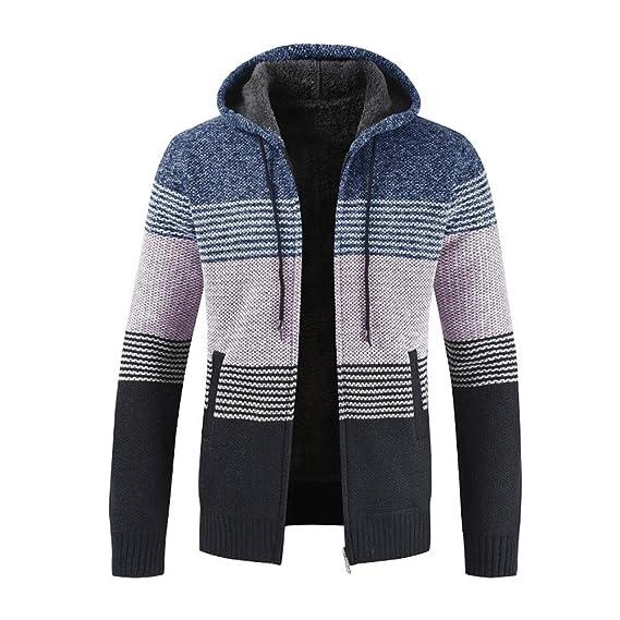 MAYOGO Strickjacke Cardigan Hoodie Zipper Elegant für Männer, Vlies Knitted Sweatshirt Herren Winter mit Fell Warm Gefüttert,Sweatjacke Freizeit