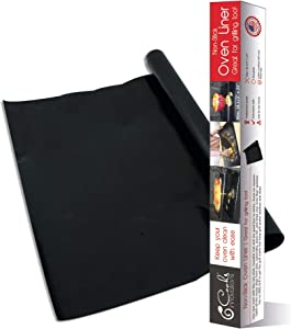 "Cooks Innovations Black Non-Stick Oven Liner 16.5x23"" - Heavy Duty Sheet to Catch Spills in Convection, Electric, & Gas, Ovens - Made in the US"