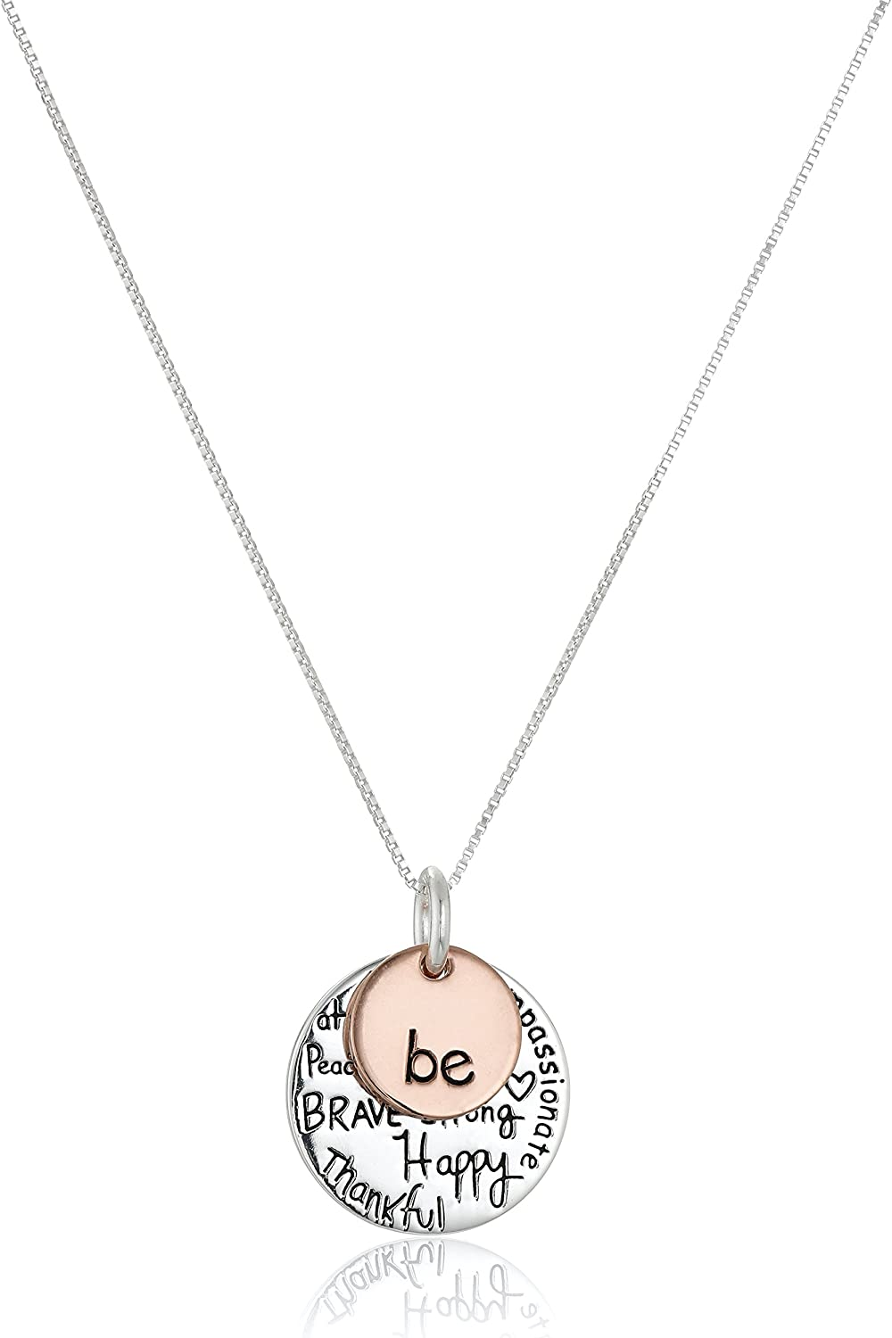 Sterling Silver MOM Charm with 18 INCH Box Chain Necklace Charms,Pendant and Bracelet by Easy to be happy