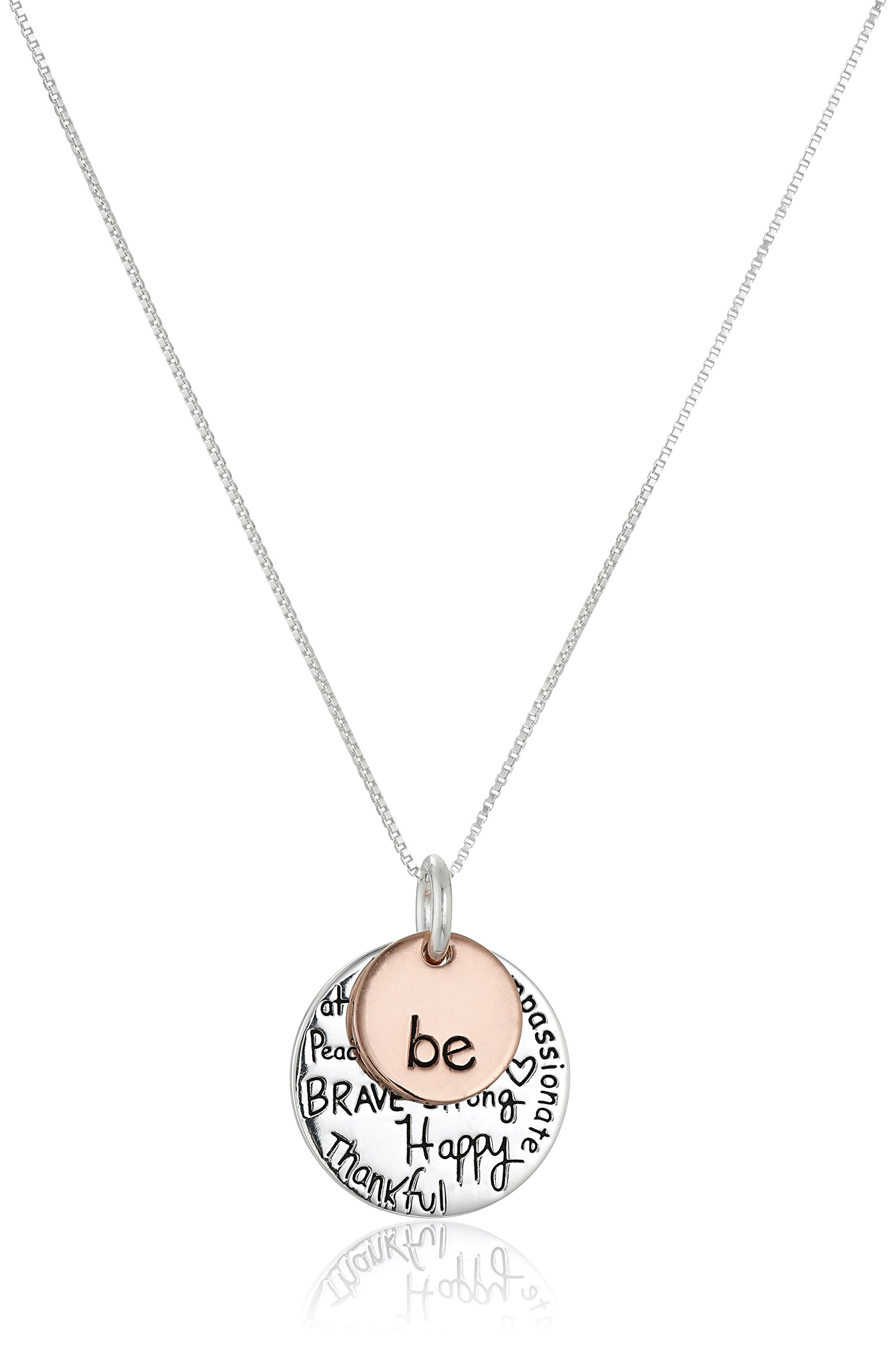 Two-Tone Sterling Silver ''Be'' Graffiti Charm Necklace, 18'' by Amazon Collection