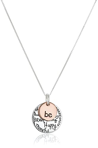 Amazon two tone sterling silver be graffiti charm necklace two tone sterling silver quotbequot graffiti charm necklace aloadofball Choice Image