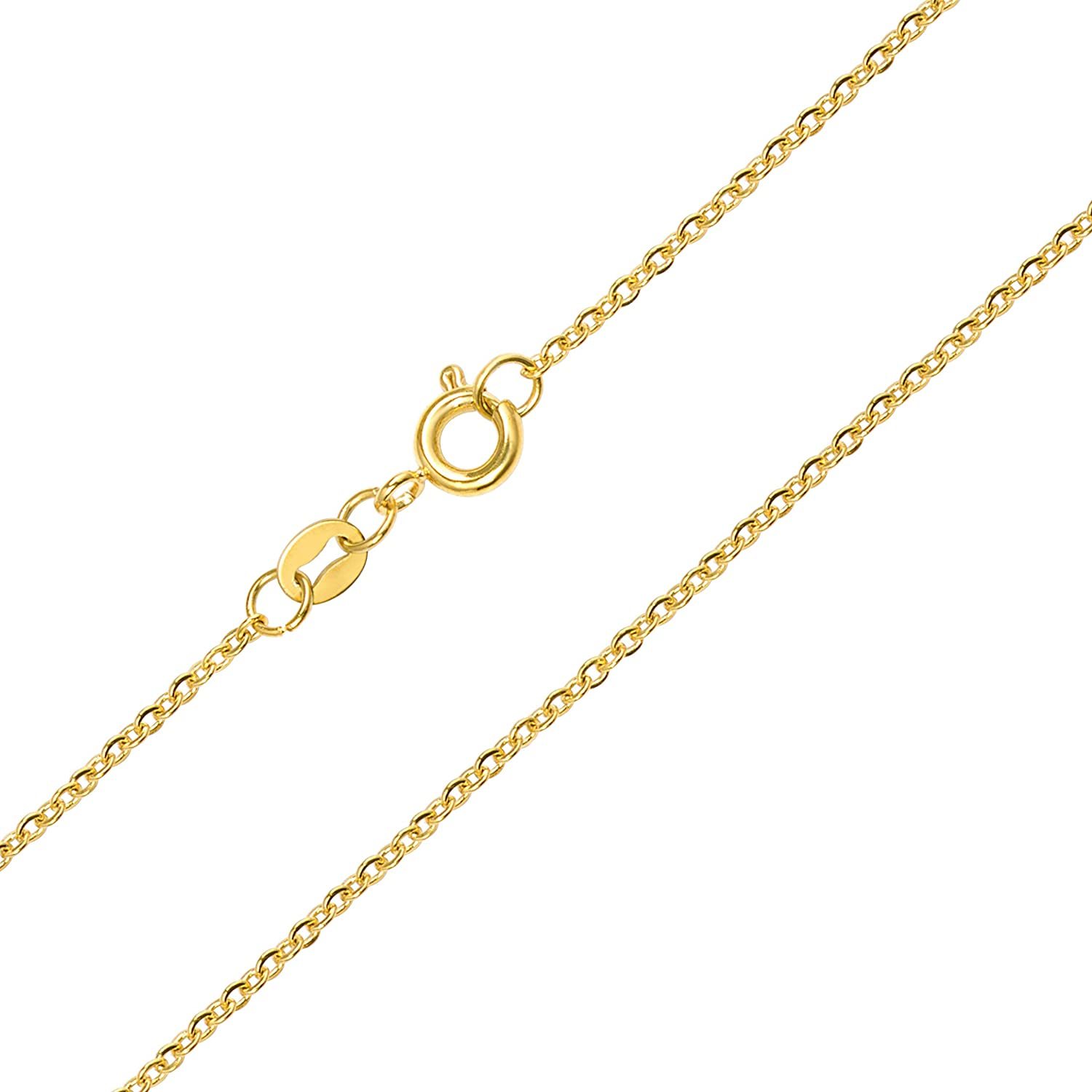 14 MAJU Designers 24k Gold Over Stainless Steel 1.5mm Thin Cable Link Chain Necklace 30 inch
