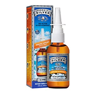 Sovereign Silver Bio-Active Silver Hydrosol for Immune Support - 10 ppm, 2 Ounce - Vertical Spray
