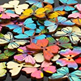 Pack of 50 Multi Color Butterflies Buttons-Mixed Wood Buttons Sewing Scrapbooking Flowers Shaped 2 Holes