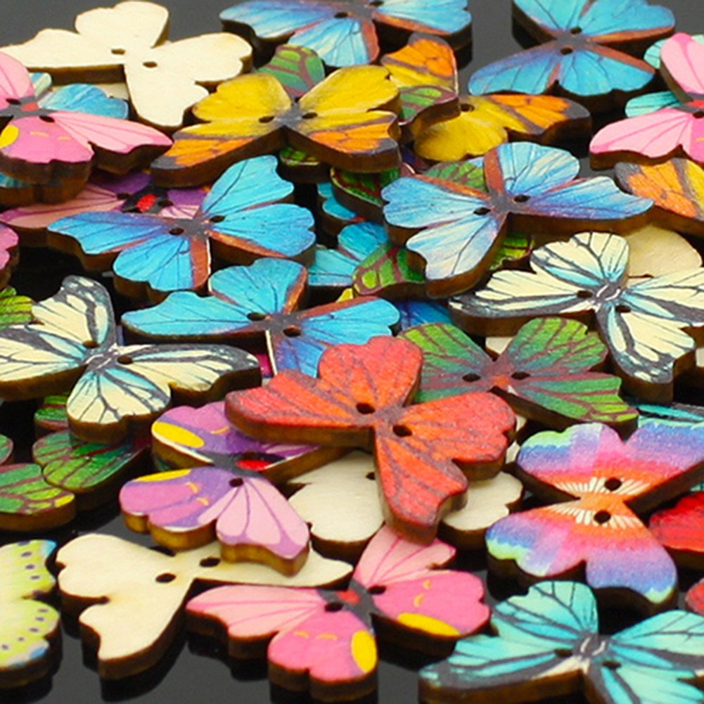 Pack of 50 Multi Color Butterflies Buttons-Mixed Wood Buttons Sewing Scrapbooking Flowers Shaped 2 Holes Shineweb 4337004536
