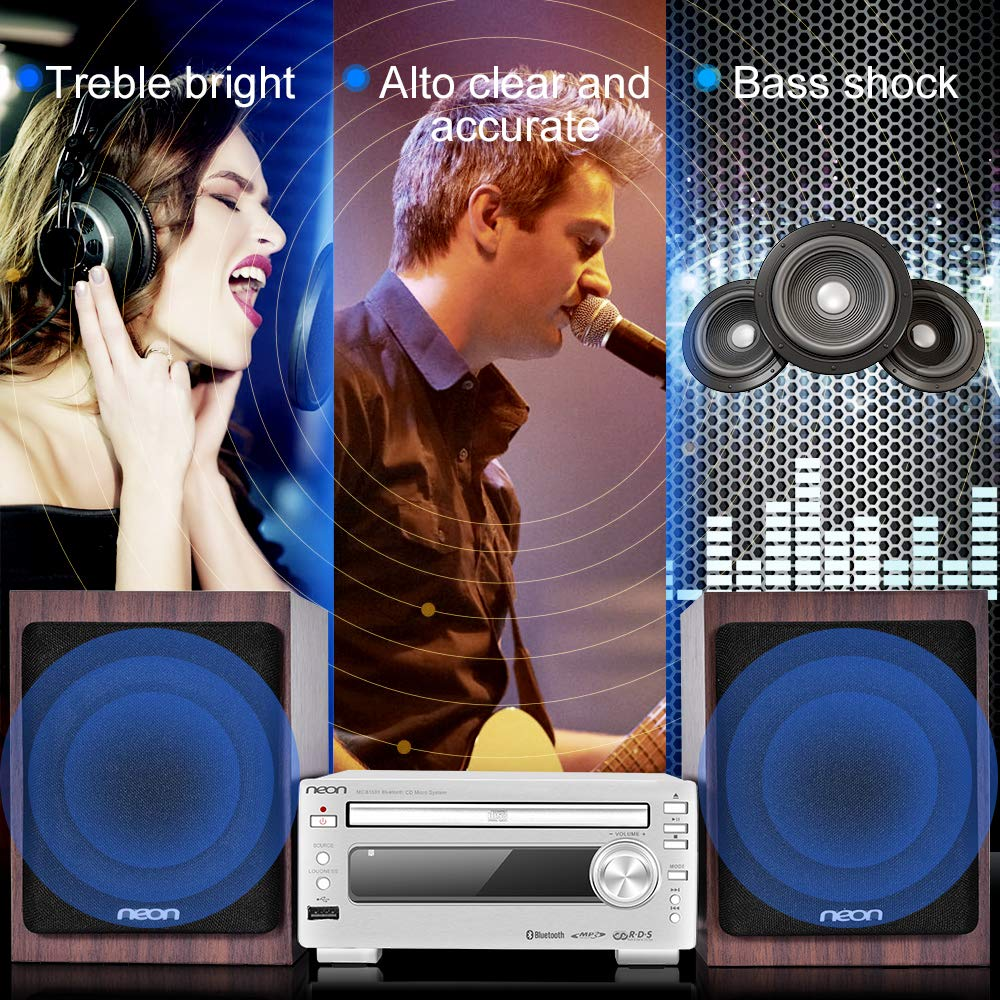 Bluetooth Stereo System - Music Streaming System w/ CD Players, FM Radio, MP3, SD Slot, USB, Remote Control, AUX, Headphone Jack, HiFi Digital Audio System Perfect for Home Cinema, MCB1533 by Neon (Image #4)
