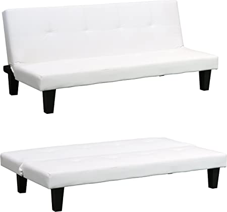 White Clic Clac Sofabed, Modern Faux Leather Sofa Bed 3 Seater Fold Down Guest Futon Click Clack