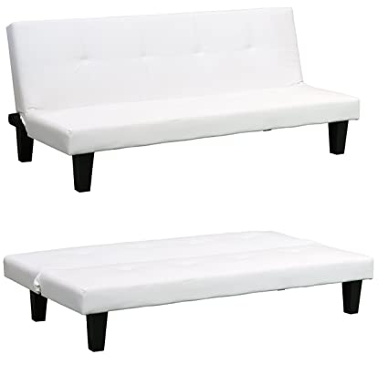 Amazing White Clic Clac Sofabed Modern Faux Leather Sofa Bed 3 Seater Fold Down Guest Futon Click Clack Pdpeps Interior Chair Design Pdpepsorg