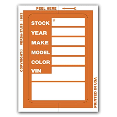 Versa Tags Kleer-bak Stock Stickers (100 Stickers, Orange): Automotive