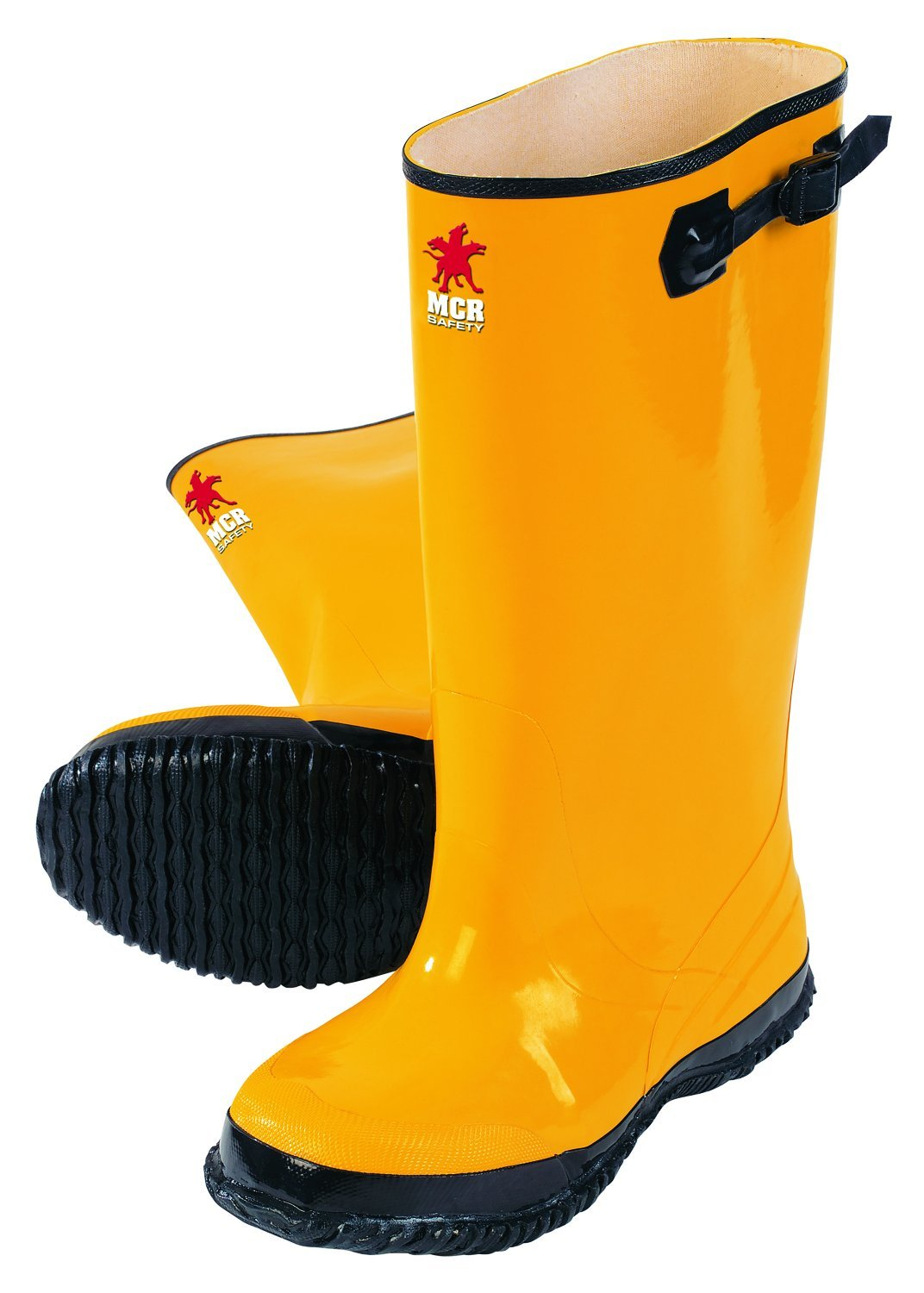 MCR Safety BYR10011 Waterproof Rubber Slush Boot with Cleated Outsole, Yellow, Size 11, 1-Pair