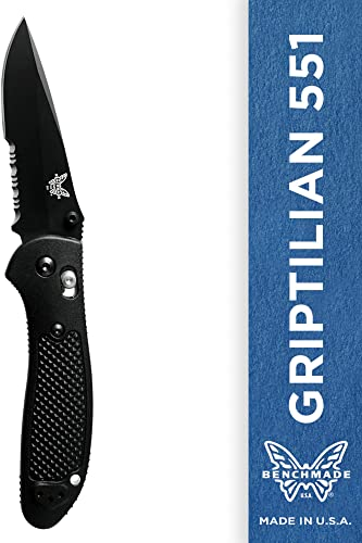 Benchmade – Griptilian 551 Knife with CPM-S30V Steel, Drop-Point Blade, Serrated Edge