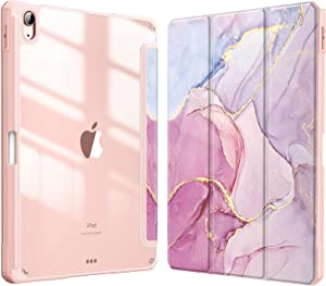 Fintie Hybrid Slim Case for iPad Air 4th Generation 2020 - [Built-in Pencil Holder] Shockproof Cover with Clear Transparent Back Shell, Auto Wake/Sleep for iPad Air 4 10.9 Inch, Glittering Marble