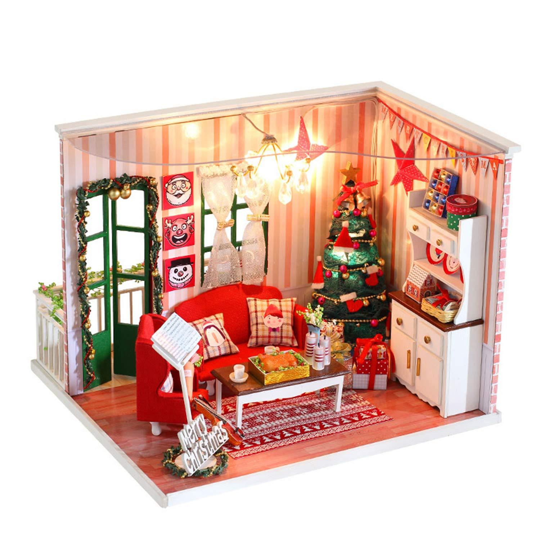 XCXDX DIY Weihnachtspuppenhaus, Handgefertigtes Modellspielzeug Mit LED, Geschenk Für Jungen Und Mädchen
