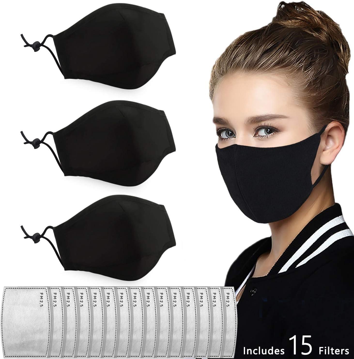 Cotton Protection from Dust PM2.5 M/àsk Other Airborne Irritants Pet Dander 3pcs+15pcs Reusable Cloth M/àsk Include M/àsk Filter Replacement Set Washable Pollen