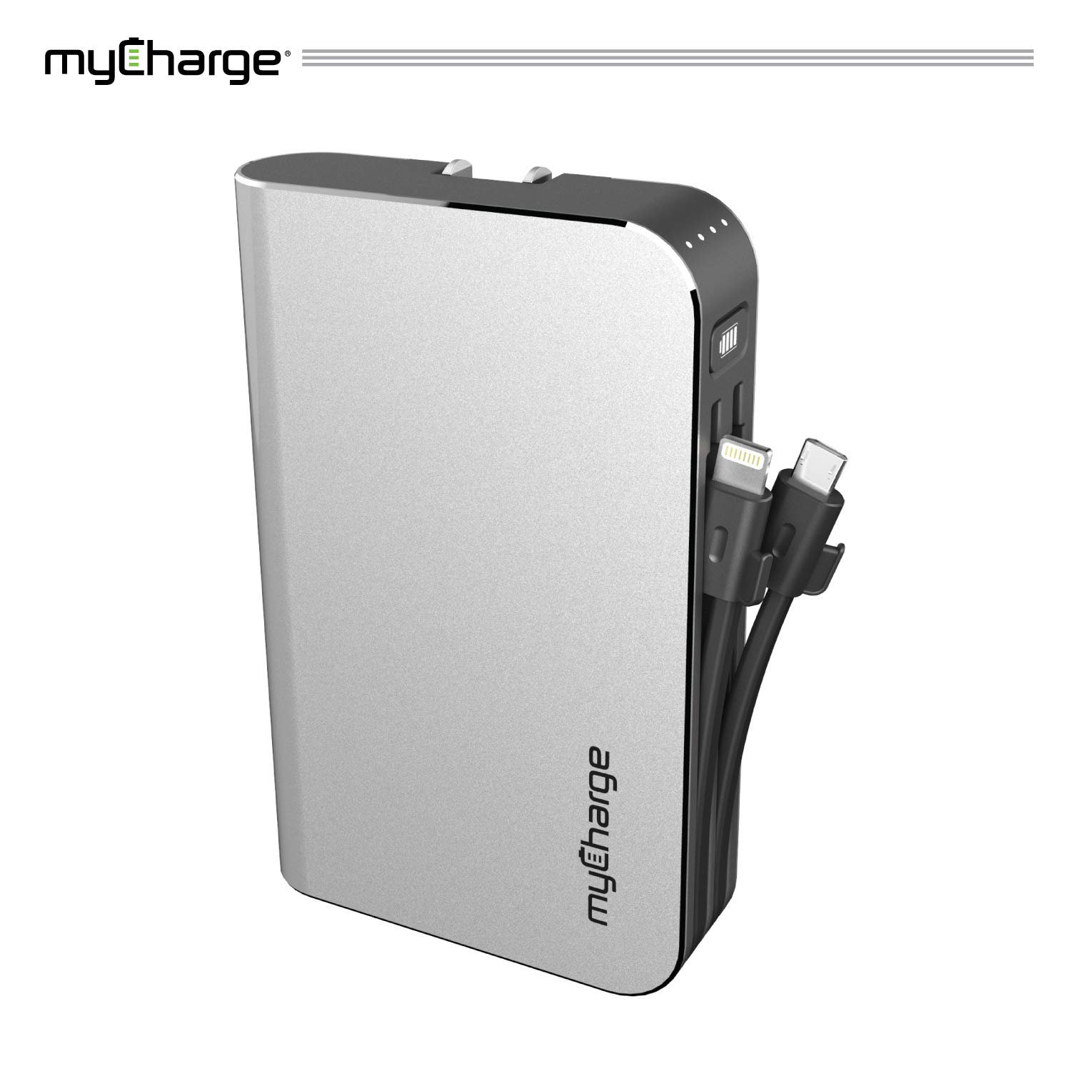 myCharge Portable Charger Power Bank - Hubmax 10050 mAh External Battery Pack | Wall Charger Foldable Plug | Built in Cables (Apple iPhone Charger Lightning Cable and Android Samsung Micro USB Cable) by myCharge