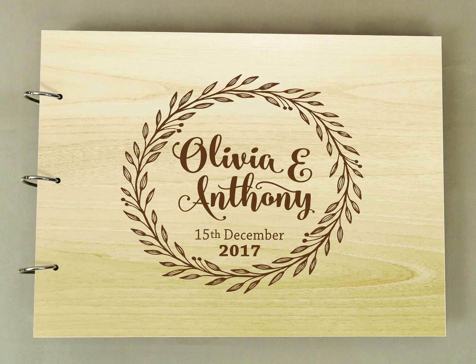Handmade Custom Guest Book Rustic Wedding Wood Engraved Advice Book Photo Album Personalized Scrapbook