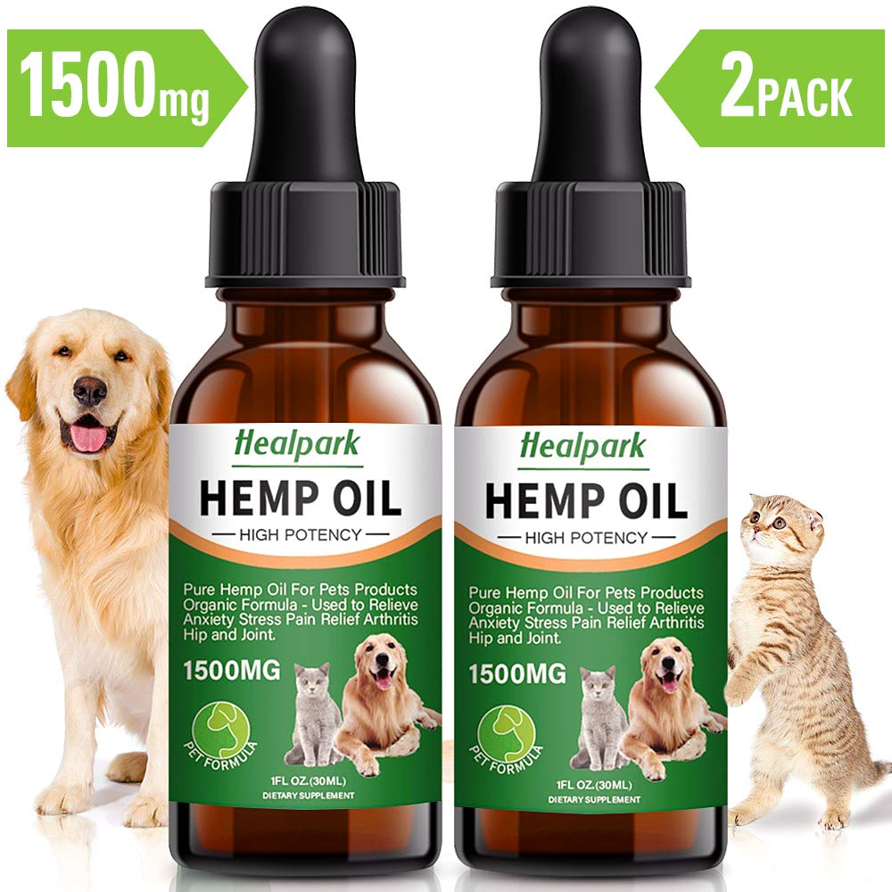 Hemp Oil for Dogs Cats - 2 Pack 1500mg - Separation Anxiety, Joint Pain, Stress Relief, Arthritis, Seizures, Calming Dog Treats - Organic Hemp Seed Oil Extract by Healpark
