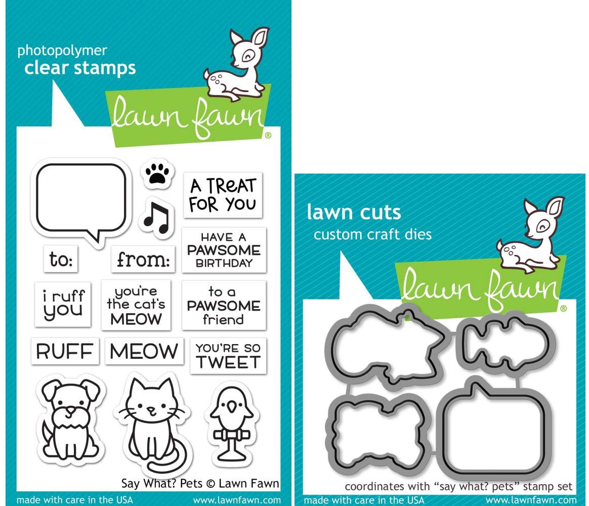 Lawn Fawn Say What? Pets Stamps and Dies - 2 Items