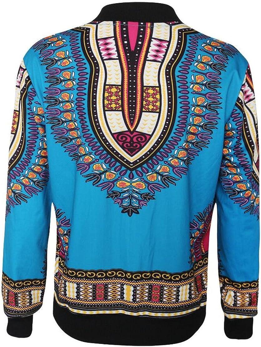 Fllay Womens Zippers Pockets Bomber African Print Dashiki Jackets Coats