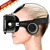 """Procus PRO (Black) VR Headset - 100-120 Degree FOV with Highest Immersive Experience - Inbuilt Headphones - Best with 4.7""""- 6"""" Phones - Inspired by Google Cardboard and Oculus Rift - Virtual Reality Gear - Best Selling for K4 Note Lenovo, iPhone, Android Phones."""