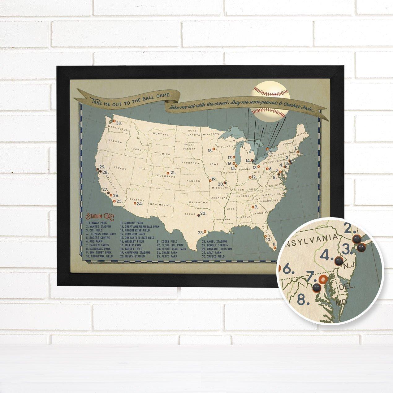 Baseball Adventures Push Pin USA Travel Map Art
