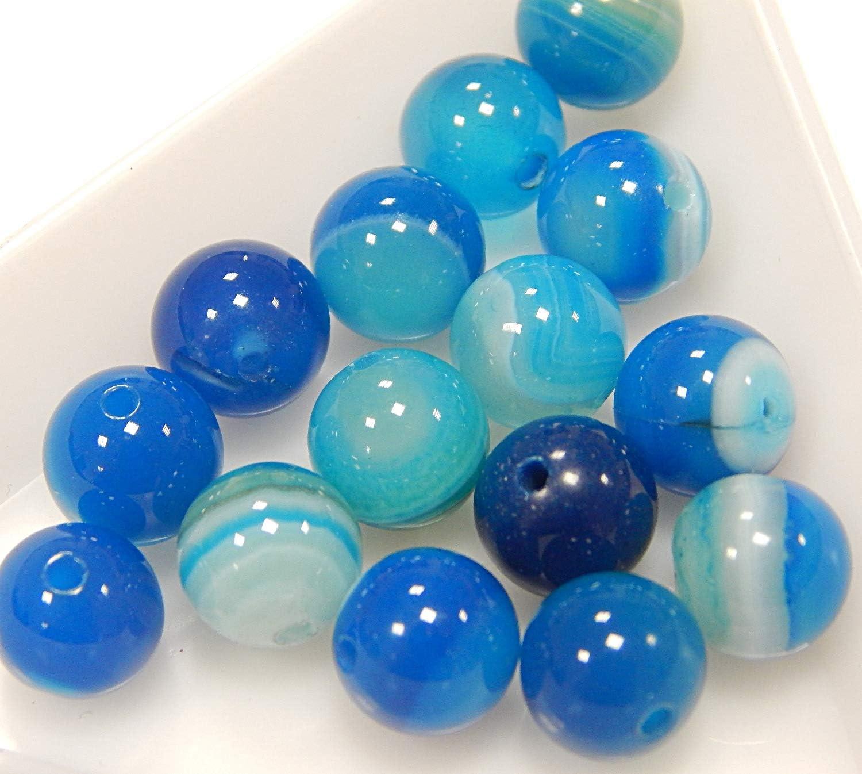 Tira de piedras preciosas naturales, perlas de ágata, 8 mm, 6 mm, color azul, forma de bola, para joyas, pulseras, cadenas, manualidades, fabricación de joyas, piedra, azul blanco, 8mm 15 Stück
