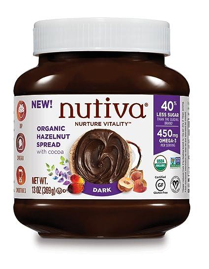 Nutiva - Avellana orgánica separada con obscuridad del cacao - 13 oz.