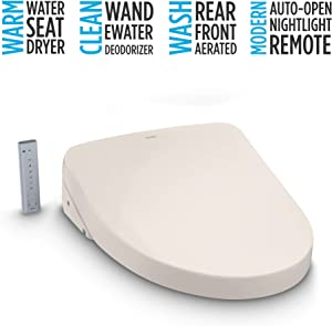 TOTO SW3056#12 S550E Electronic Bidet Toilet Seat with Cleansing Warm, Nightlight, Auto Open and Close Lid, Instantaneous Water Heating, and EWATER+, Elongated Contemporary, Sedona Beige
