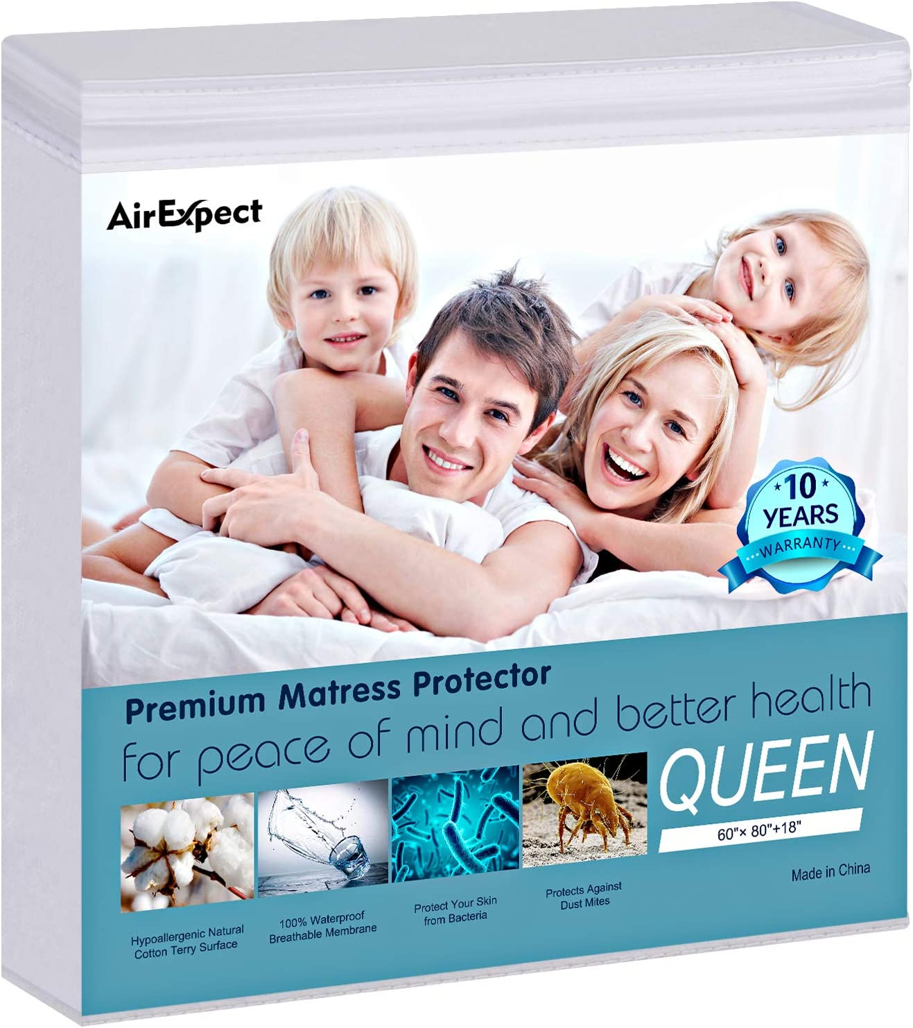 "Waterproof Mattress Protector Queen Size - AirExpect100% Organic Cotton Hypoallergenic Breathable Mattress Pad Cover, 18"" Deep Pocket, Vinyl Free - 60"" x 80"""