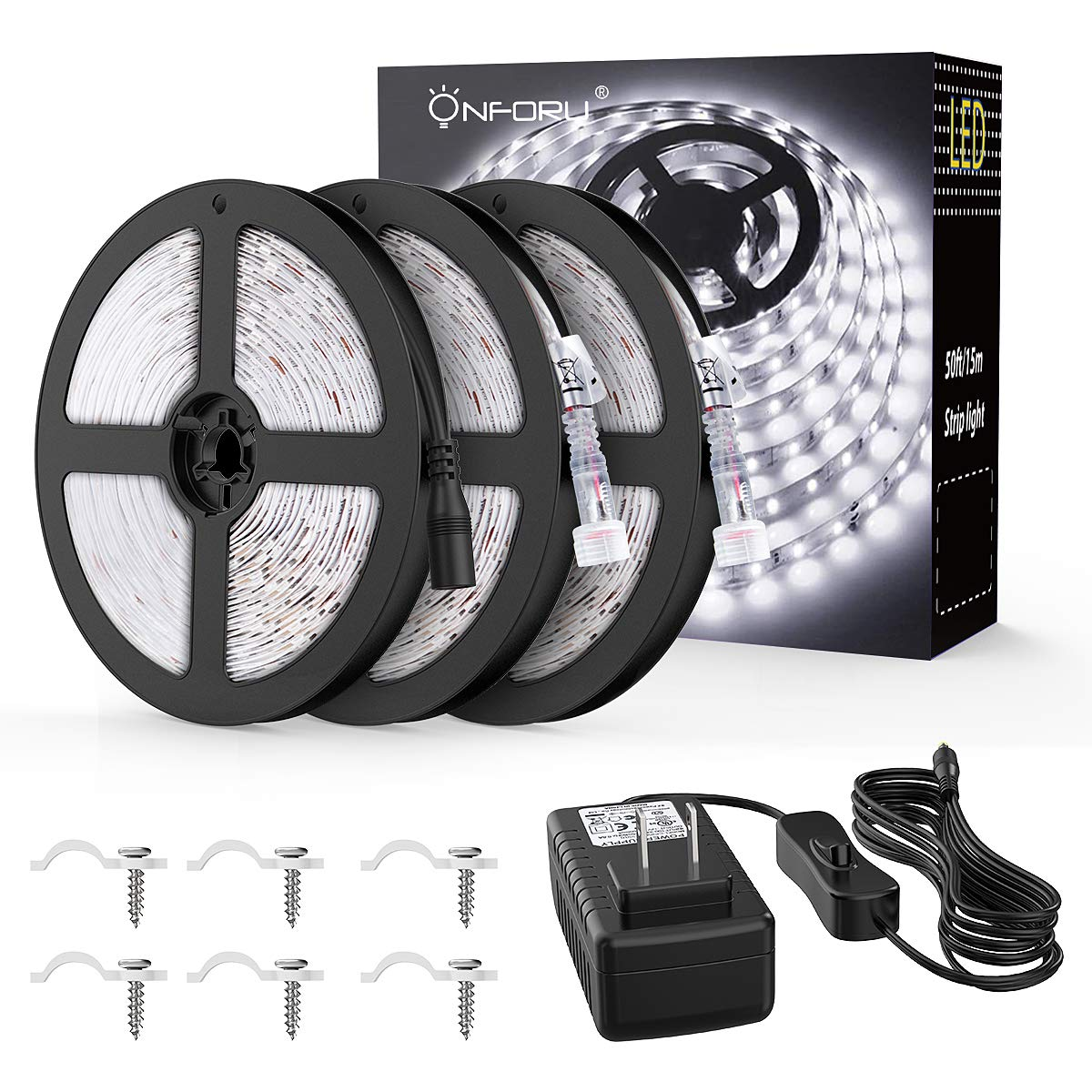 Onforu 50ft/15m Waterproof LED Strip Lights Kit, 6000K Cool White, 12V Flexible LED Rope with 450 SMD 2835 LEDs, UL Listed Power Supply with Switch, IP65 Waterproof for Indoors and Outdoors
