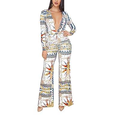 7430c6b496b Amazon.com  Wide Leg Jumpsuits for Women Sexy Elegant Long Sleeve Jumpsuit  Rompers Floral Pant Suits  Clothing