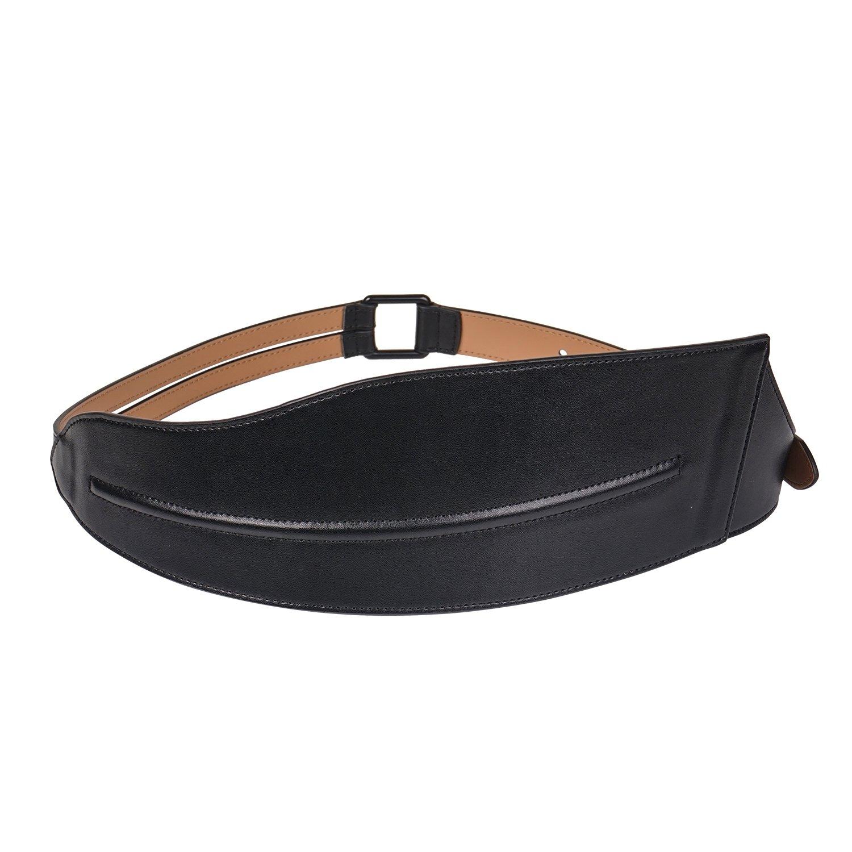 Ladies Wide Black Irregular Genuine Italian Cowhide Leather Belt