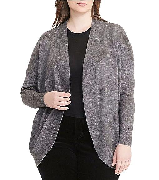 Lauren Ralph Lauren Plus Size Geometric Open-Front Cardigan (Platinum  Heather, OS)