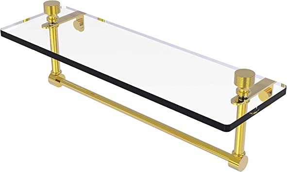 Allied Brass PR-1//22TB-PB 22 Inch Glass Vanity Shelf with Integrated Towel Bar Polished Brass