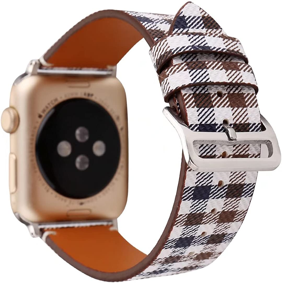 NewSilkRoad Replacement for Apple Watch Series 3 Band 38mm,Classic Tartan Pattern Leather Band Strap with Stainless Metal Buckle for Apple Watch Series 3,Series 2, Series 1, Sport & Edition (C)